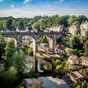 From Above  by Donna Brittain - Buildings & Architecture Bridges & Suspended Structures ( river nidd, reflection, aqueduct, bridge, cityscape, landscape, knaresborough. uk,  )