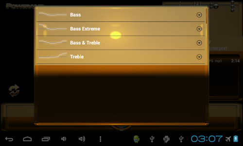 Poweramp skin Orange Glas luxe v1.33