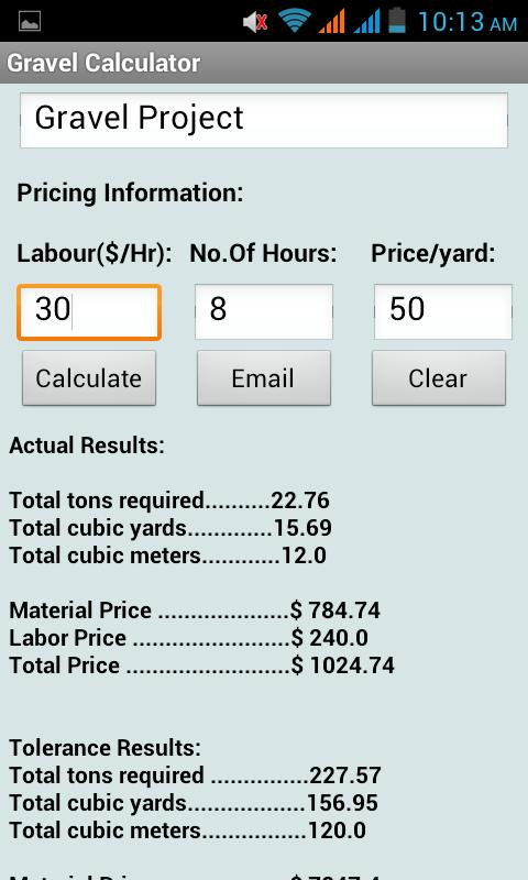 Gravel calculator android apps on google play for Soil removal calculator