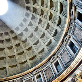 The Pantheon Dome by Jennifer Wheatley-Wolf - Buildings & Architecture Public & Historical ( tiles, arch light, rome, dome, beam, jennifer wheatley wolf, italy, pantheon, , Architecture, Ceilings, Ceiling, Buildings, Building )