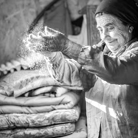 Birth of bread by Diana Toma - People Portraits of Women ( bread, flour  wrinkles smile, old woman )