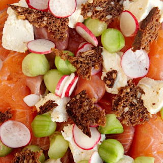 Cured Salmon with Smoked Fresh Cheese, Radishes and Cucumbers, and Rye-Bread Chips