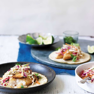 Fish Tacos with Creamy Chipotle Cabbage Slaw.