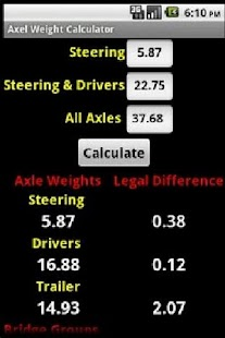 Axle Weight Calculator - screenshot thumbnail