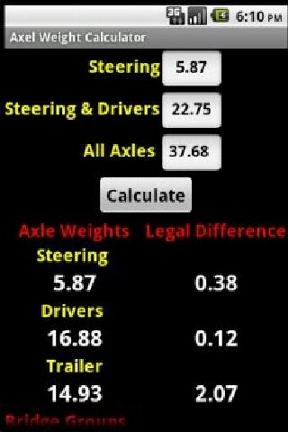 Axle Weight Calculator - screenshot