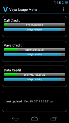 Vaya Usage - screenshot
