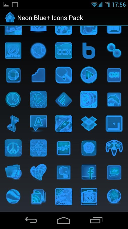 Neon Blue+ Icons Pack - ADW GO- screenshot