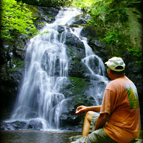 Enjoying the view by Larry Landry - Landscapes Waterscapes ( #waterfalls, #tennessee, #pigeonforgetn, smoky mountains, #spruceflatfalls )