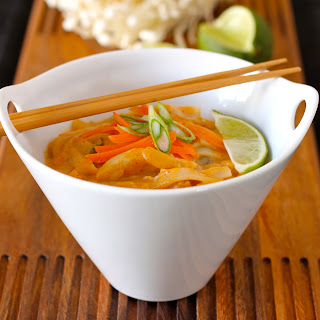 Red Curry, Coconut milk and Rice Noodle Thai Soup.