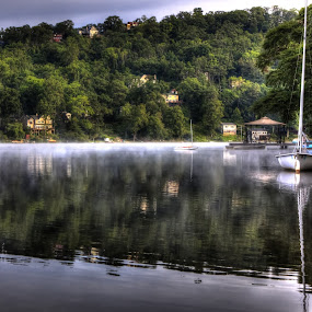 Mist on Cedar Lake by Ward Vogt - Landscapes Waterscapes ( water, green, lake, sailboat, boat, cedar lake, photography, new jersey, denville, trees, nj, ward vogt, mist )