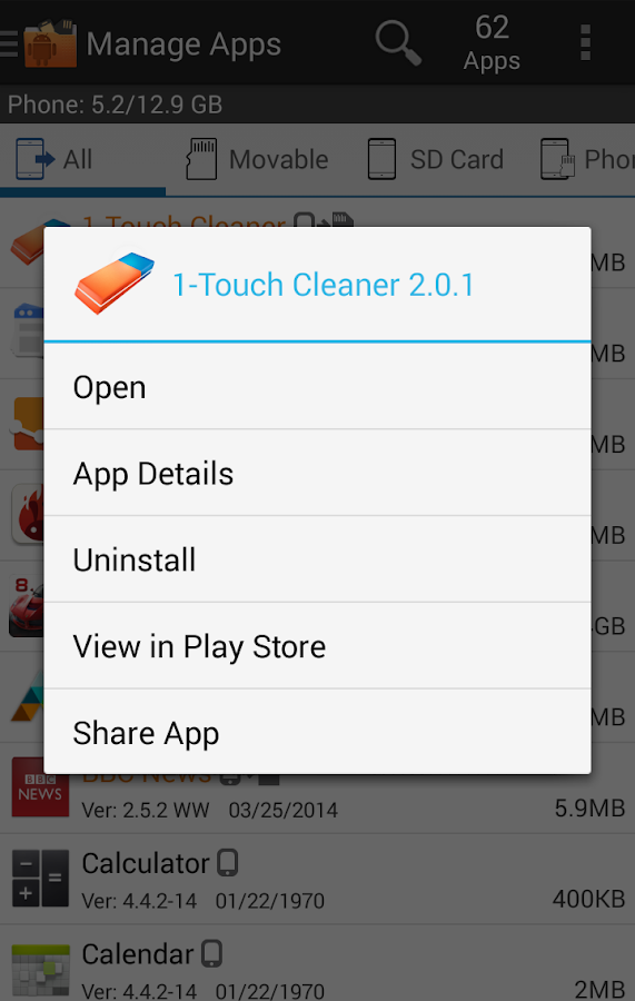 Manage Apps (App 2 SD) - screenshot