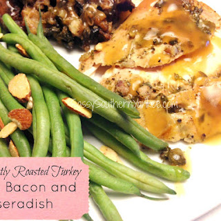 Perfectly Roasted Turkey with Bacon and Horseradish.