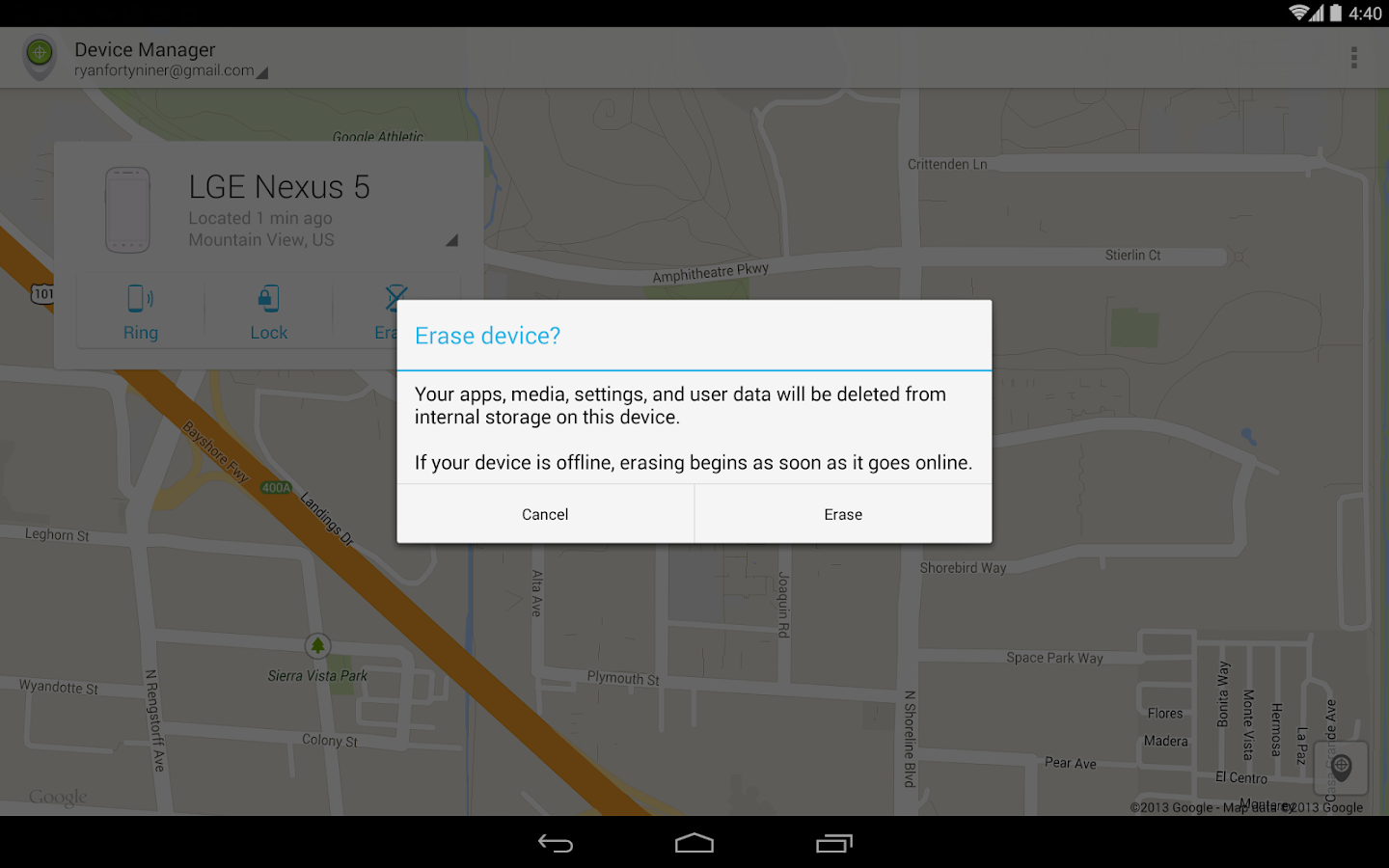 Android Geräte-Manager – Screenshot