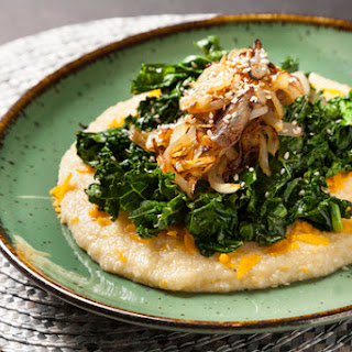 Smothered Two-Cheese Grits & Greens