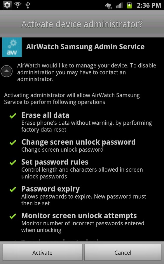 AirWatch Samsung Service - screenshot