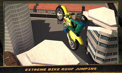 城市自行车屋顶跳跃特技辛