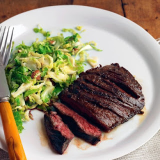 Seared Steak with Brussels Sprouts and Almonds.