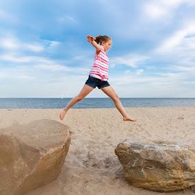 Walking in the Air by Olga Gerik - Babies & Children Children Candids ( girl, jumping, candid,  )
