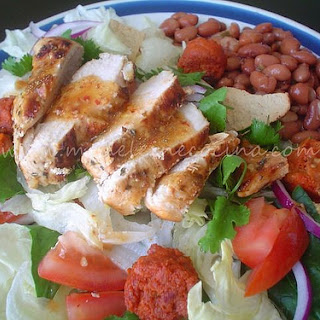 Chicken and Sausage Salad with Beans.