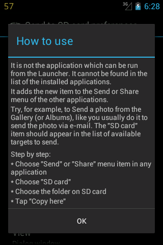 Send to SD card- screenshot