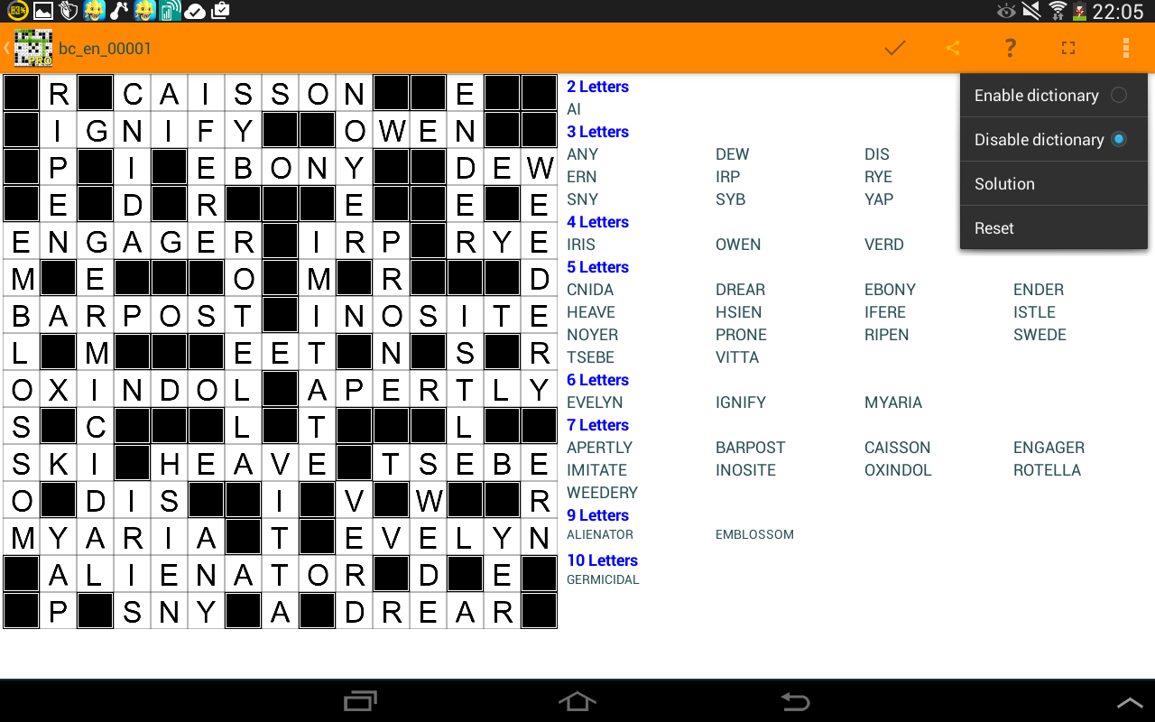 Fill it ins crosswords puzzles- screenshot