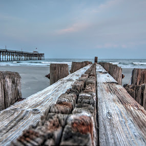 Decaying Pier by Cathie Crow - Buildings & Architecture Decaying & Abandoned ( piers, pawleys island, hdr, nature, ocean, wood structure, hdr photography )