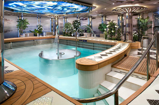 Holland-America-SignatureClass-HydroPool - Take a dip in the hydrotherapy pool that has a high-pressure jet bath in the middle of the pool and is just slightly warmer than body temperature. It's at the Green Spa aboard Nieuw Amsterdam.