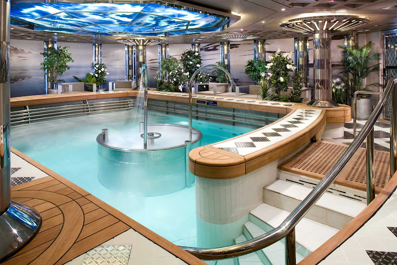 Take a dip in the hydrotherapy pool that has a high-pressure jet bath in the middle of the pool and is just slightly warmer than body temperature. It's at the Green Spa aboard Nieuw Amsterdam.