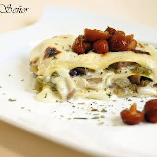 Mushroom Lasagna with Gorgonzola Bechamel.