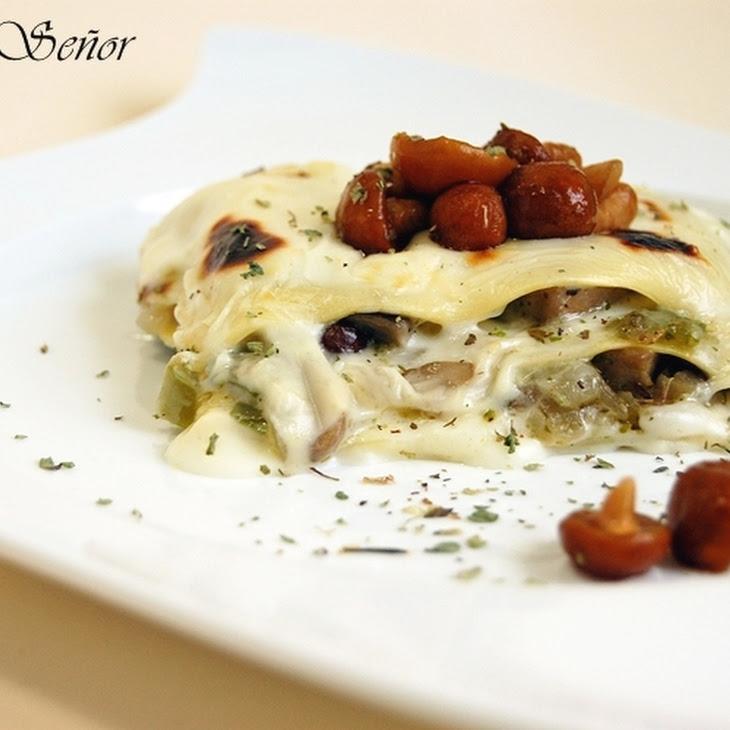 Mushroom Lasagna with Gorgonzola Bechamel
