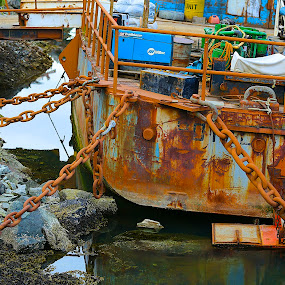 Secure to work by Capt Jack - Transportation Boats ( water, old, weight, barge, bay, chains, workboat, heavy, rust, boat, salt, tieup )