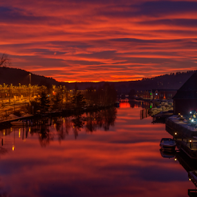Mesmerizing Sunset by Johannes Mikkelsen - Landscapes Sunsets & Sunrises ( water, waterscape, colorful, boats, reflections, mesmerizing, blood, seascape, landscape, norway, amazing, halden, magic, red, spellbound, sunset, bloody, river,  )