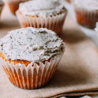 Peanut Butter Cupcakes with Black Sesame Frosting.