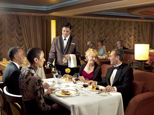 Have an elegant, sophisticated gourmet dinner with complimentary fine wine at the Princess Grill aboard Queen Victoria.