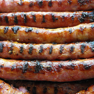 Grilled Sausages with Mustard and Lemon Sauce.