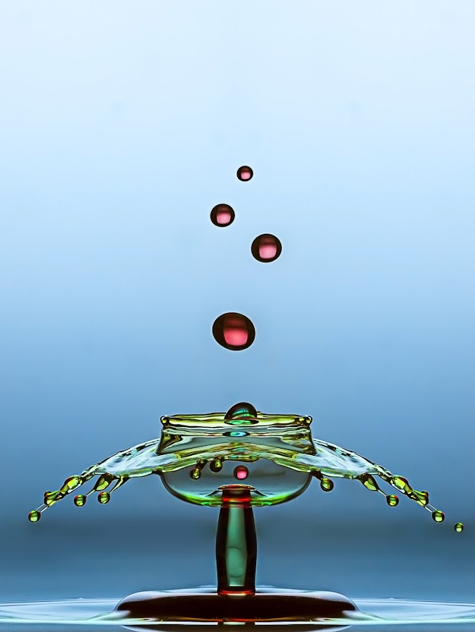 - 5 drops n 1 by Robert  Fly - Abstract Water Drops & Splashes ( water, sculpture, red, blue, green, still life, waterdrops )