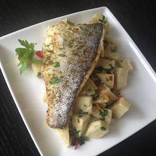 Sautéed Yams & Pan-fried Sea Bass