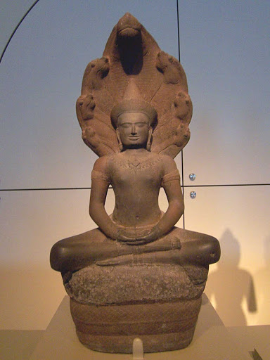 Buddha-Cambodia-Asian-Art-Museum-San-Francisco - A 12th century Cambodian statue of Buddha at the Asian Art Museum in San Francisco.