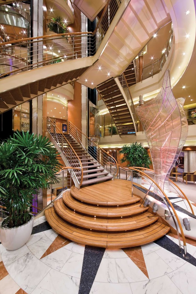 You'll appreciate the space and openness of Seven Seas Voyager interiors, including the Atrium shown here, during your travels.