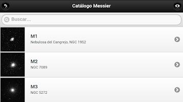 Screenshot of Catálogo Messier - Astronomía