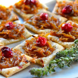 Caramelized Onion and Cranberry Puff Pastry Bites.