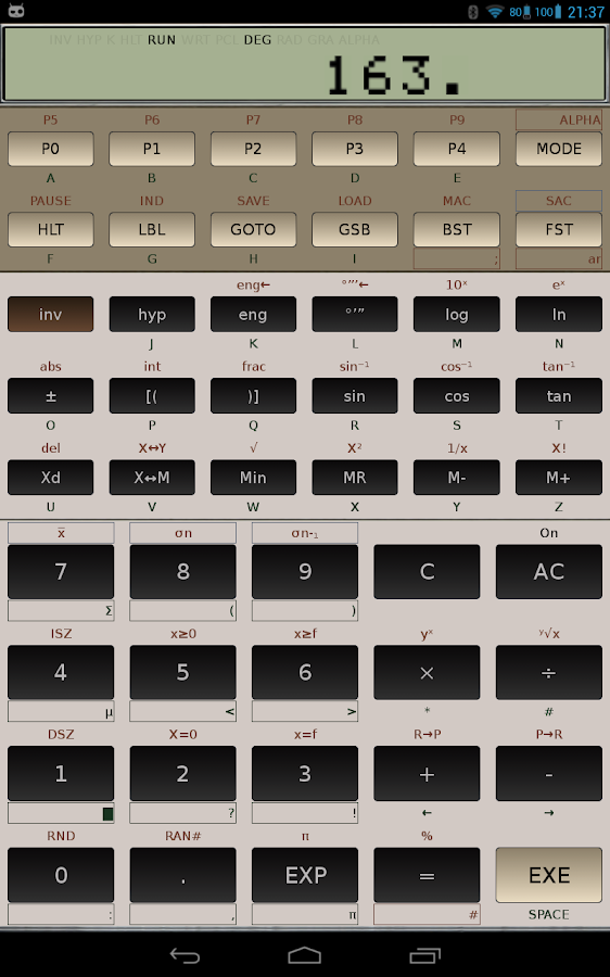 FX-602P scientific calculator- screenshot