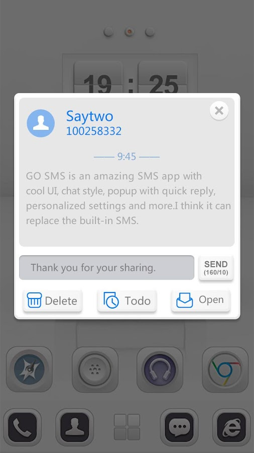 GO SMS PRO WHITESOUL THEME - screenshot
