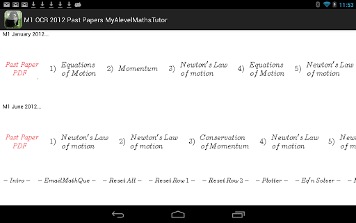 M1 Maths OCR 2012 Revision PP