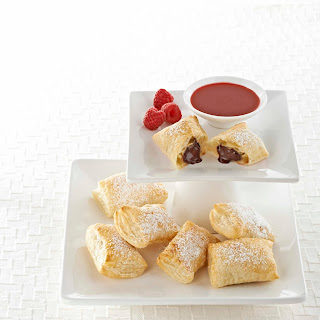Bittersweet Pastries with Raspberry or Mango Sauce.