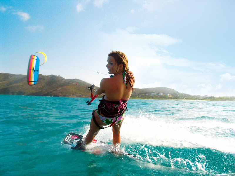 Kitesurfing, or kiteboarding, on St. Lucia.