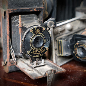 Days gone by by Alan Roseman - Artistic Objects Antiques ( old camera, bellows, lenses, days gone by, camera, kodak, vest pocket, antique,  )