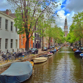 Amsterdam Canal by Andy Bond - City,  Street & Park  Street Scenes ( water, europe, boats, amsterdam, canal )