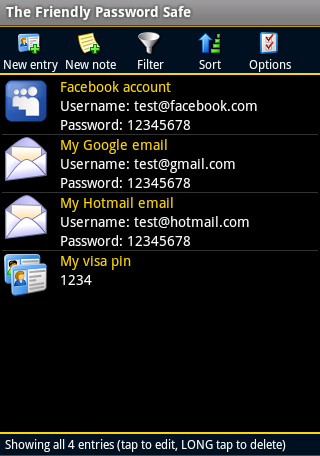 Friendly Password Safe - screenshot