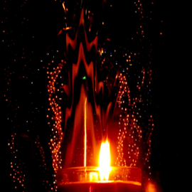 Candlelight Abstract by Tina Dare - Abstract Light Painting ( abstract, candle, patterns, designs, candlelight, amber, bubbles, glow, zigzag, shapes, fire, night, flames )
